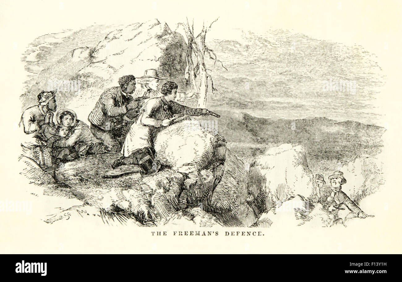'The Freeman's Defence.' Illustration by Hammatt Billings (1818-1874) from 'Uncle Tom's Cabin' - Stock Image