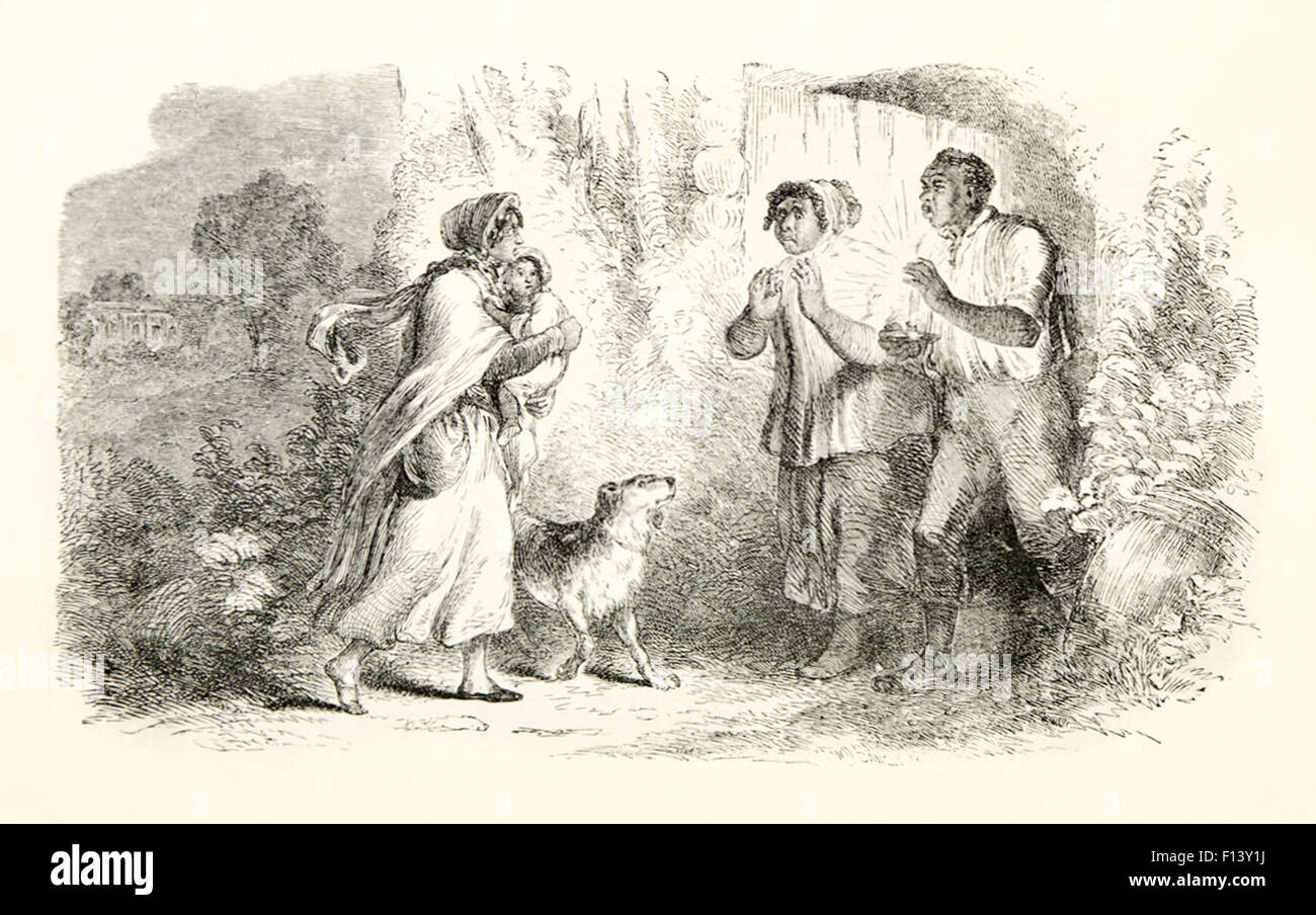 'Eliza comes to tell Uncle Tom that he has been sold and she is running away to save her child.' Illustration - Stock Image