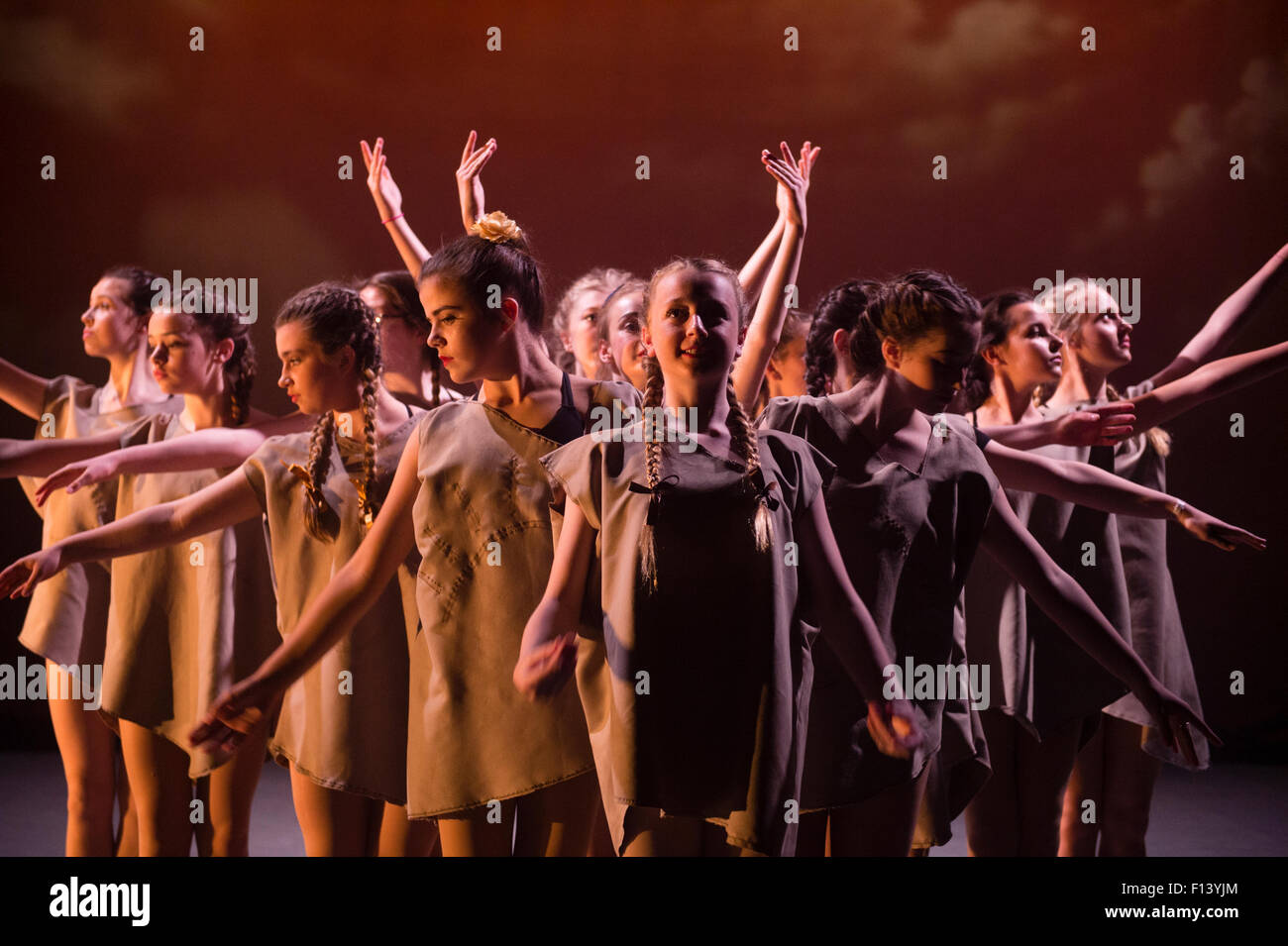 A group of young 13 14 15 16 year old teenage girl student dancers at Aberystwyth Arts Centre  Dance School dancing - Stock Image