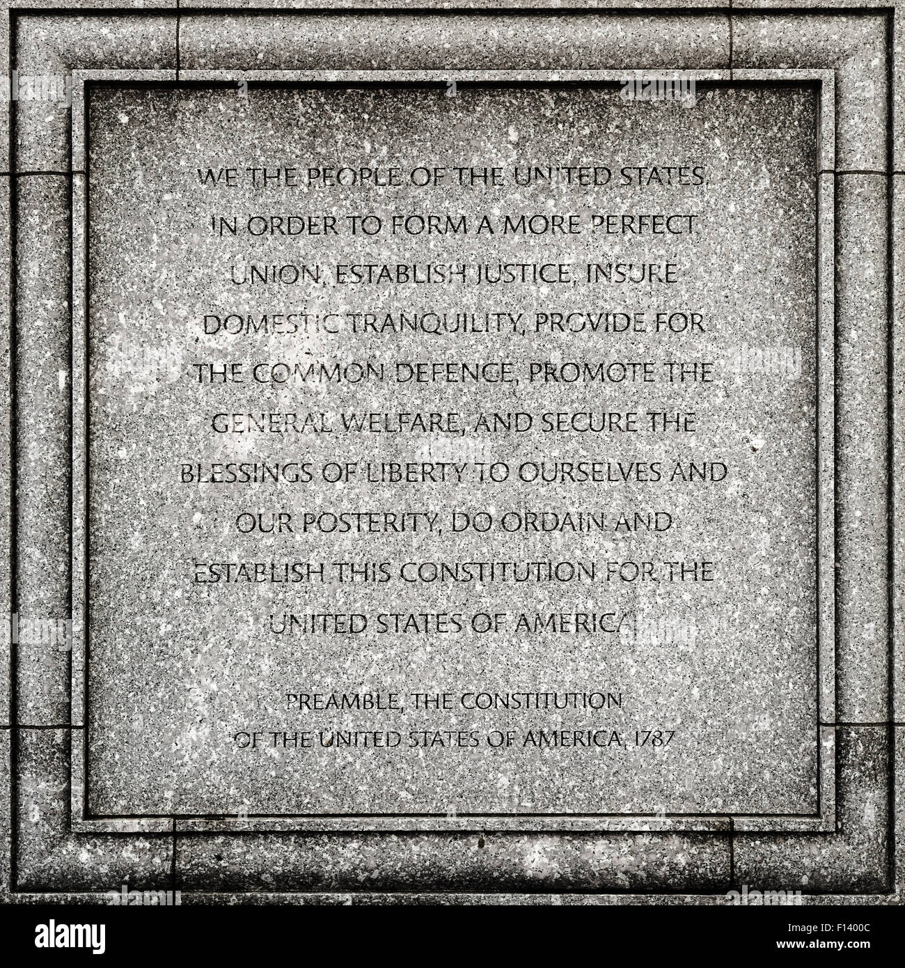 Outdoor detail of the John Joseph Moakley United States Courthouse in Boston - Preamble of the USA constitution - Stock Image