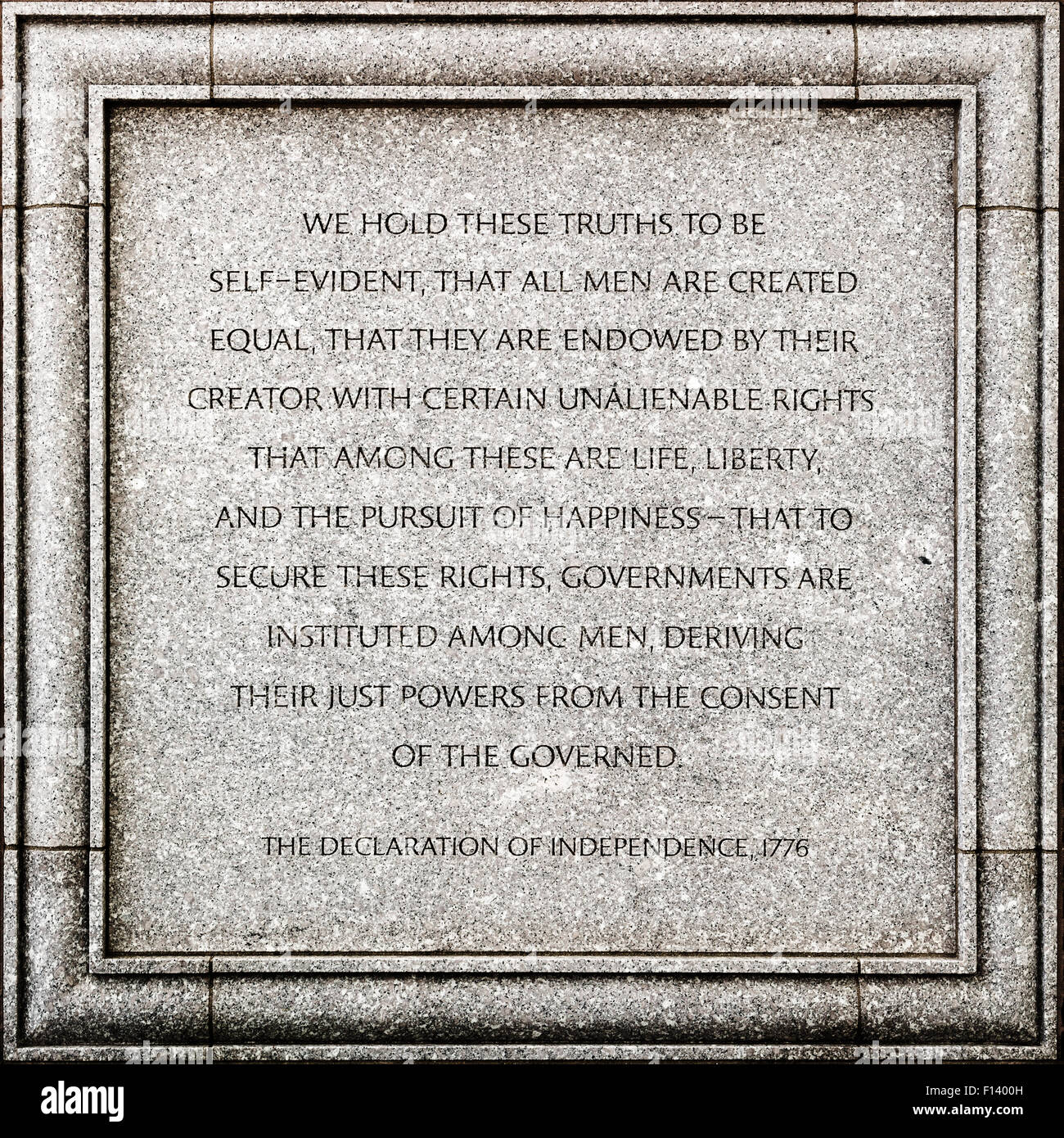 Outdoor detail of the John Joseph Moakley United States Courthouse in Boston - The declaration of Independence - Stock Image
