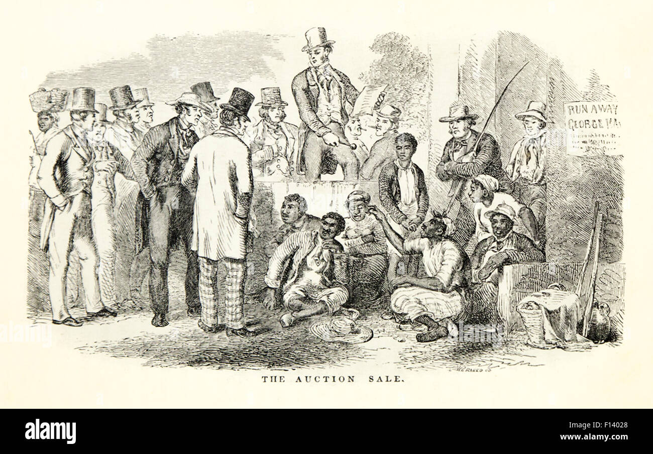 'The Auction Hall.' Illustration by Hammatt Billings (1818-1874) from 'Uncle Tom's Cabin' by - Stock Image