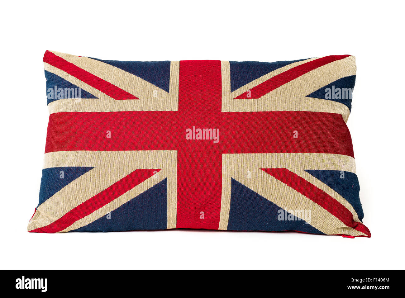 Closeup of union jack cushion pillow isolated on a white background. - Stock Image