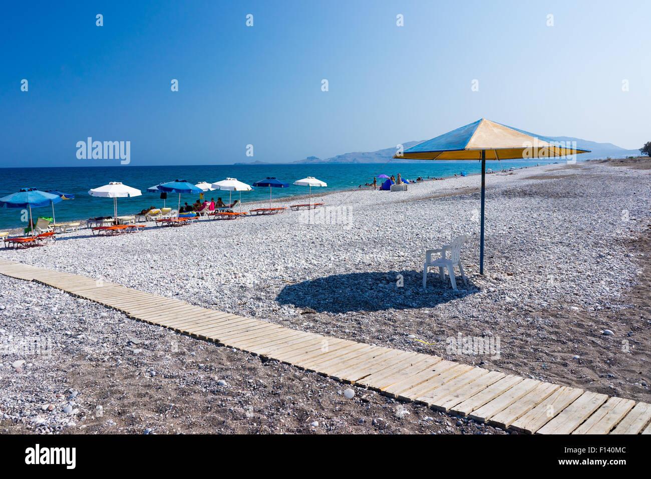 The Beautiful Haraki Beach Rhodes Dodecanese Greece - Stock Image