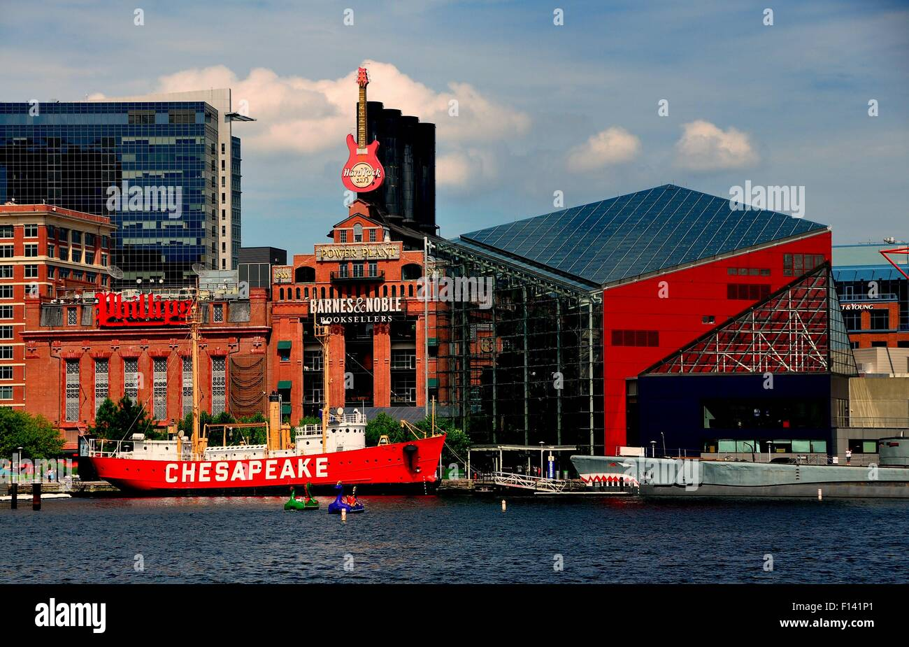Baltimore, Maryland:  The Lightship Chesapeake moored in front of the Power Plant commercial complex and National - Stock Image