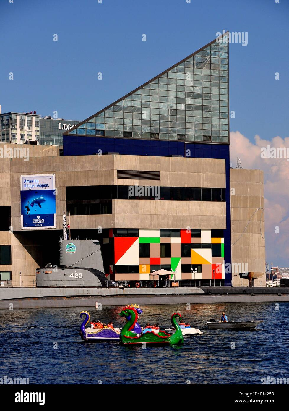 Baltimore, Maryland:  People in dragon paddle boats at Inner Harbor and the National Aquarium - Stock Image