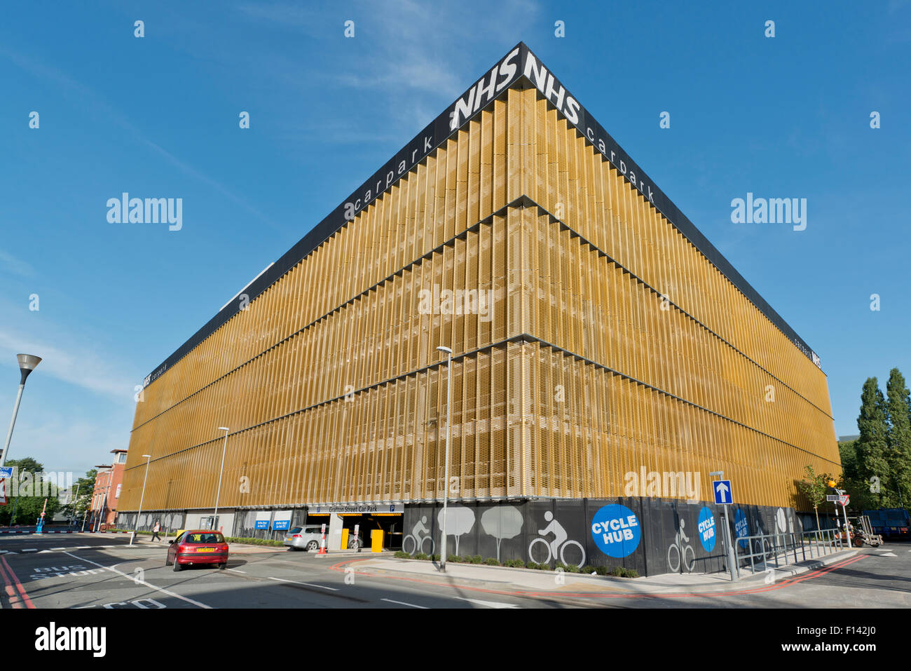 An NHS (National Health Service) car park located near to the Manchester Royal Infirmary hospital off Oxford Road - Stock Image