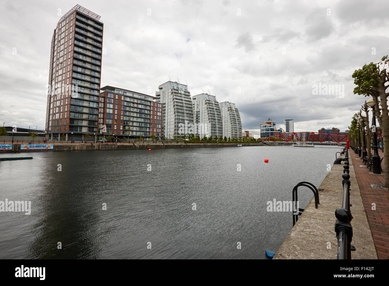city lofts and nv buildings salford quays Manchester uk - Stock Image