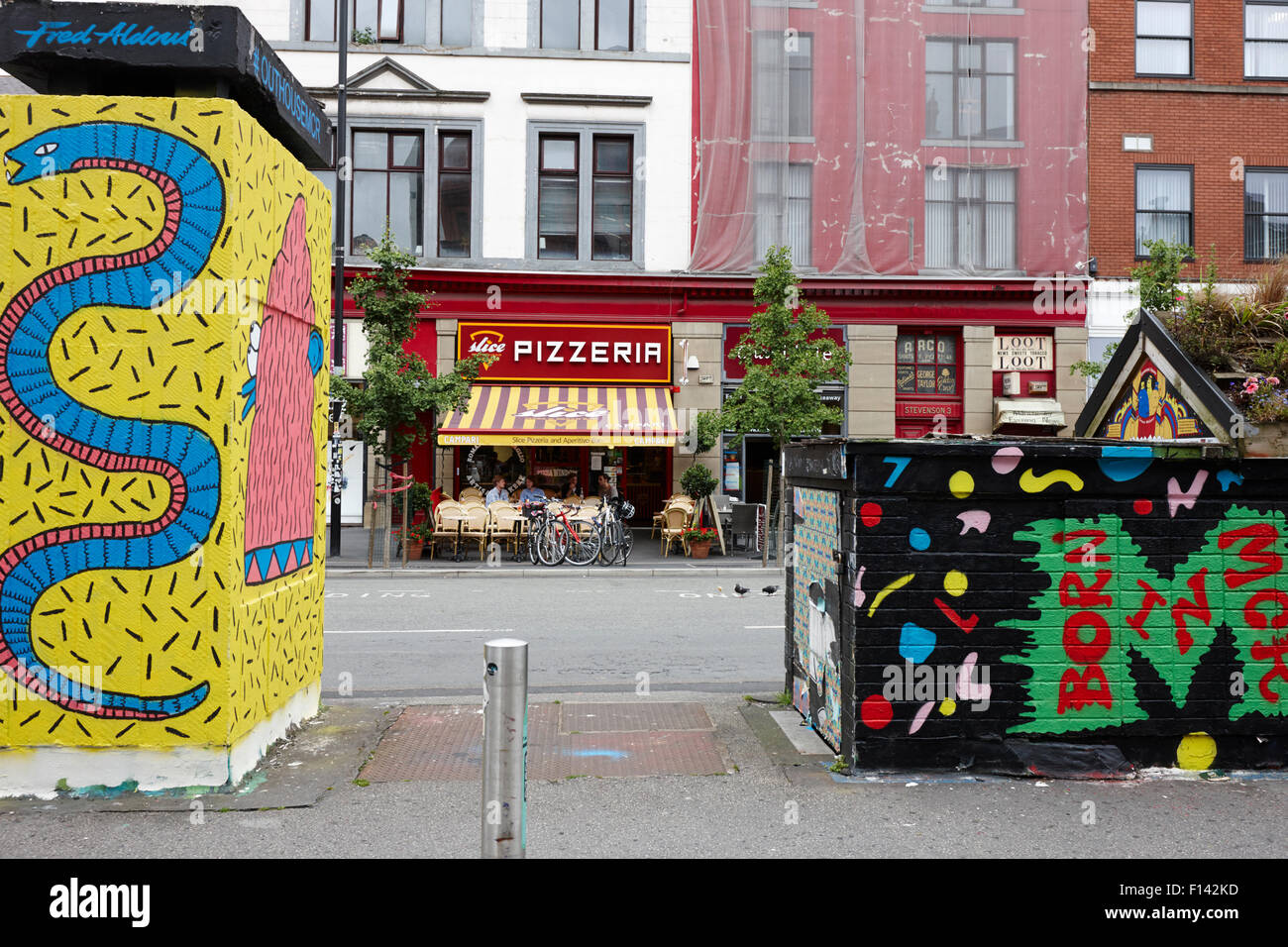 artwork in stephenson square Northern quarter Manchester uk - Stock Image
