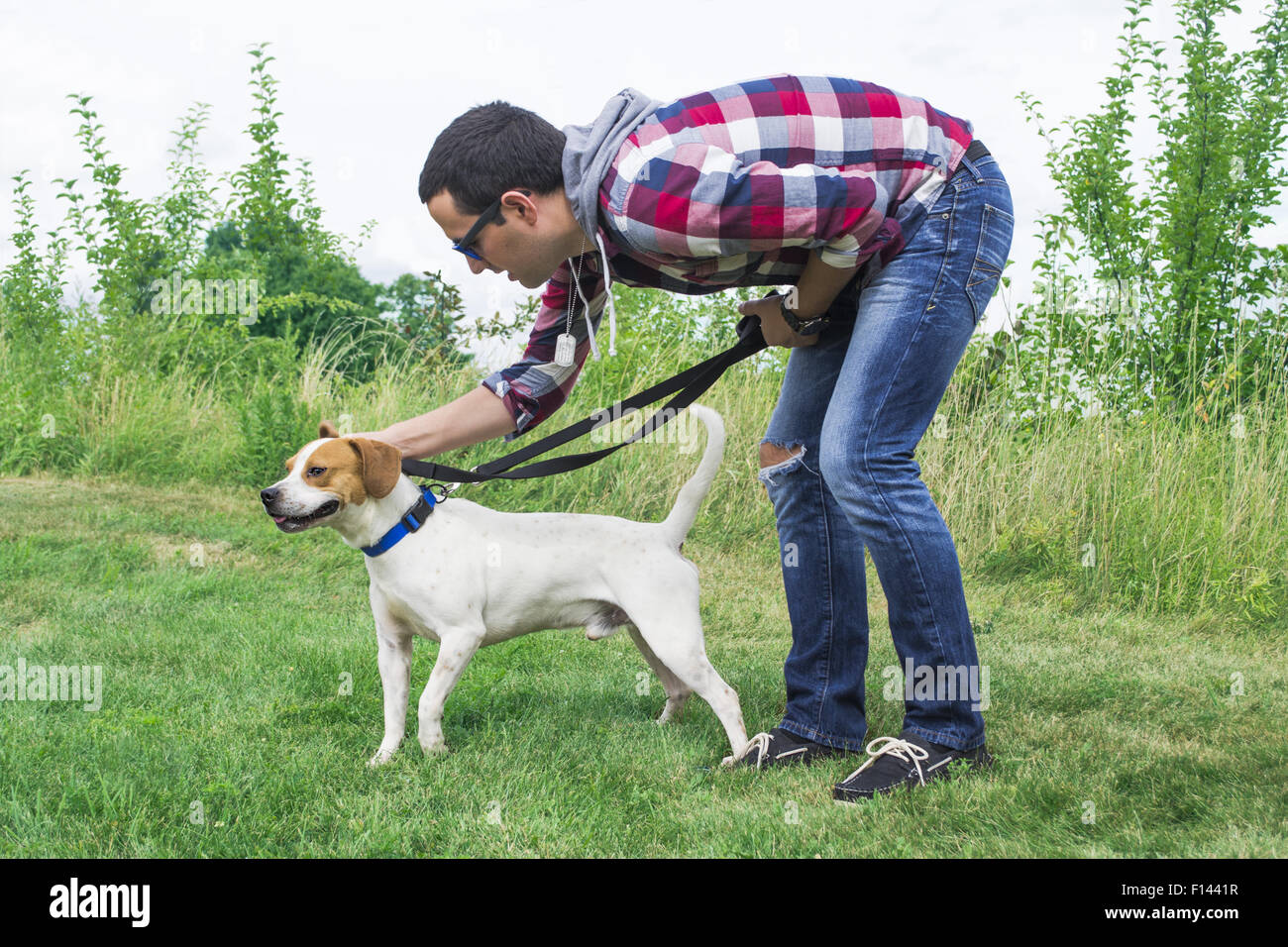 A young man trains a medium sized dog. - Stock Image
