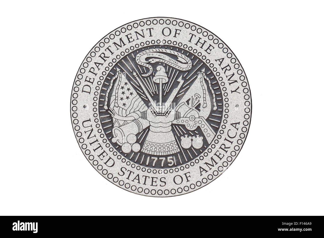 U.S. Army official seal on a white background. - Stock Image