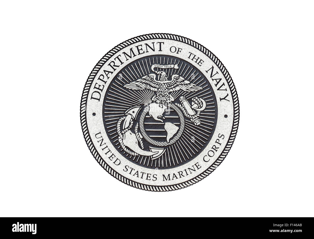 U.S. Marine Corps  official seal on a white background. - Stock Image