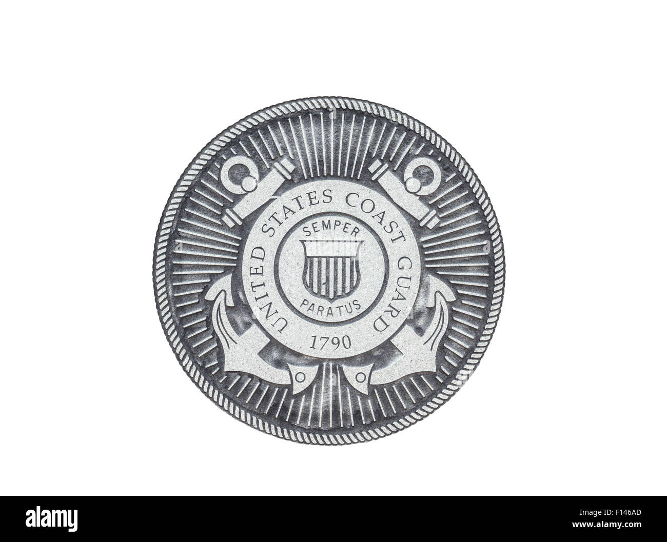U.S. Coast Guard official seal on a white background. - Stock Image
