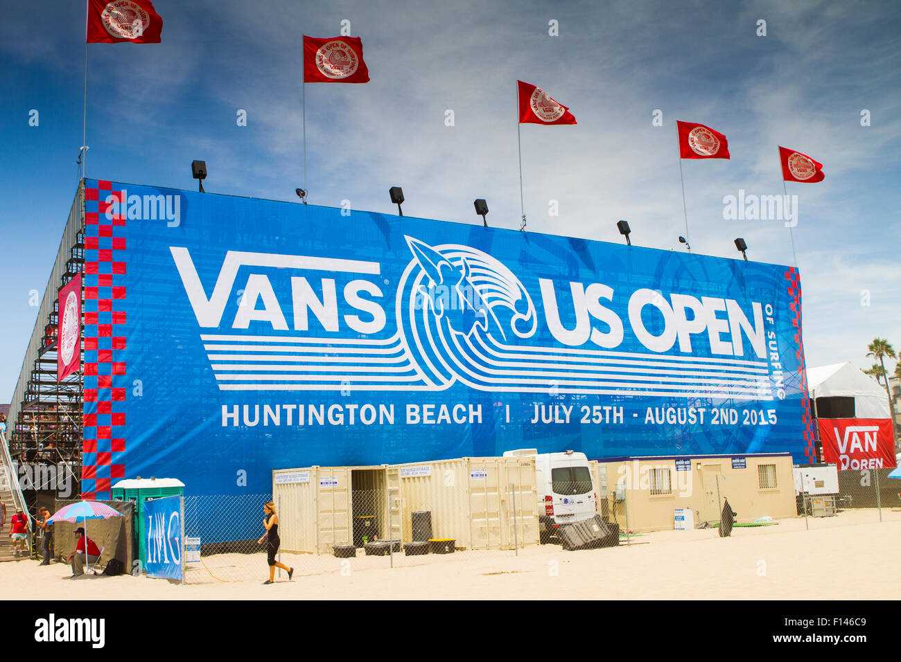 13419e47f9 Advertising fo the Vans US open of surfing at Huntington Beach California  USA part of the