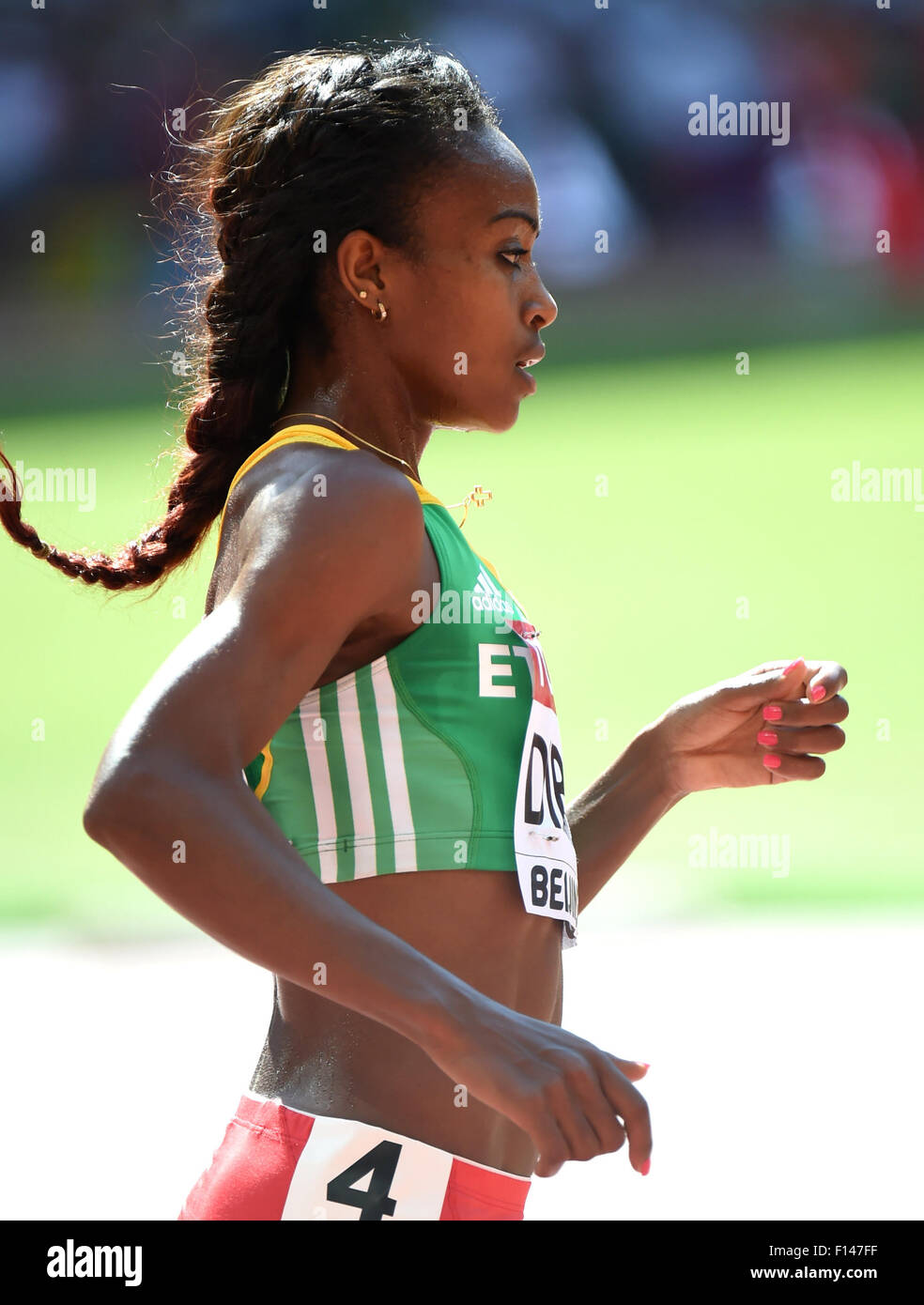 Beijing, China. 27th Aug, 2015. Genzebe Dibaba of Ethiopia competes during the women's 5000m heat at the 2015 IAAF Stock Photo
