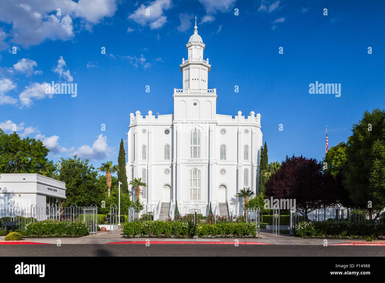 The historic temple of the Church of Later-day Saints in ST. George, Utah, USA. - Stock Image
