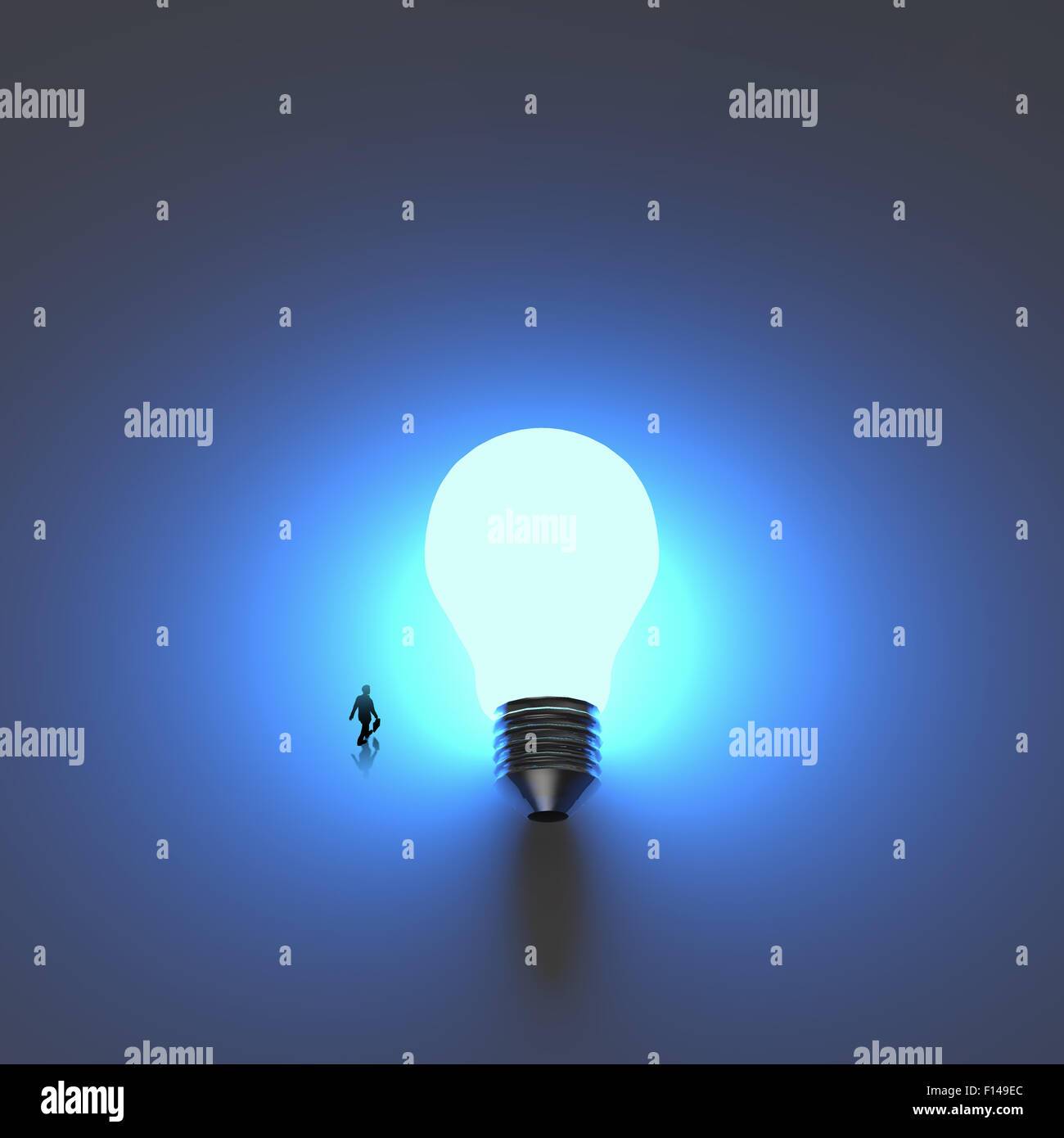 Businessman Walking To Growing Lightbulb 3d Idea Diagram As Success Of Incandescent Light Bulb Concept