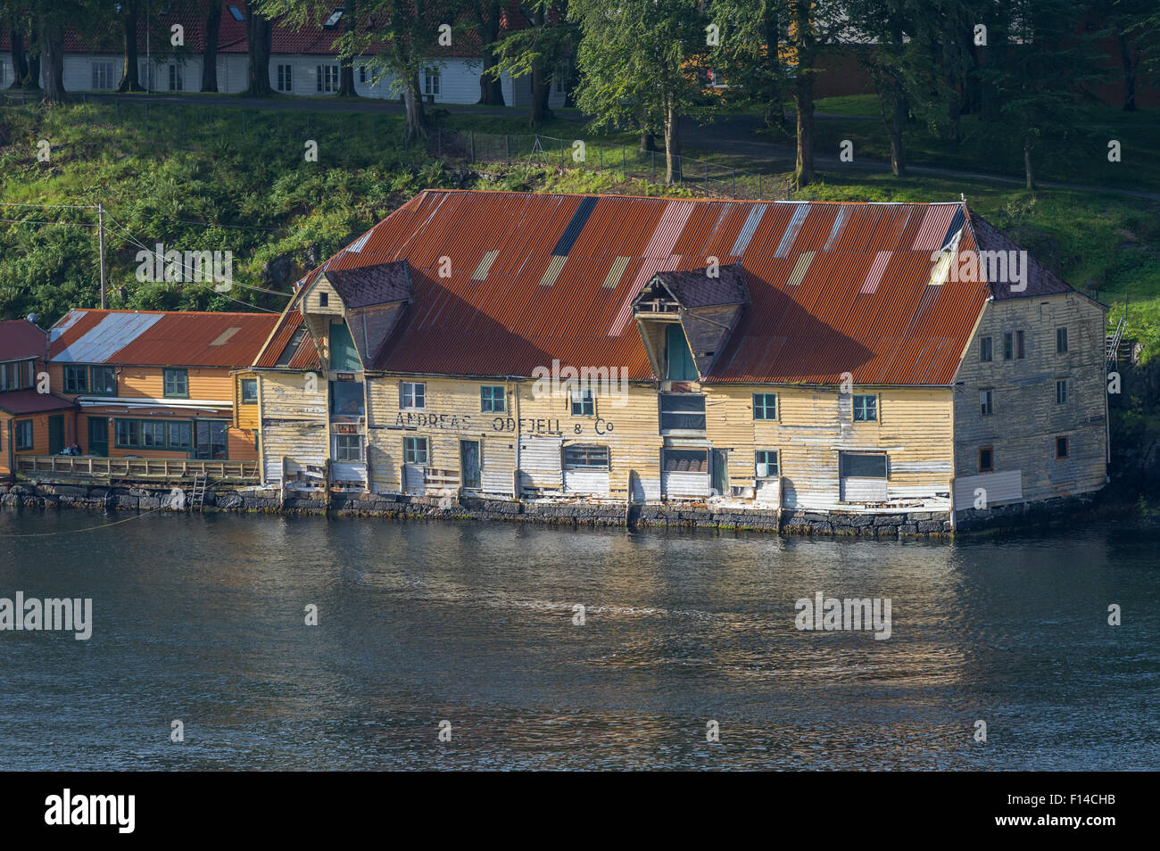 Typical Norwegian building using timber frames and cladding. Stock Photo