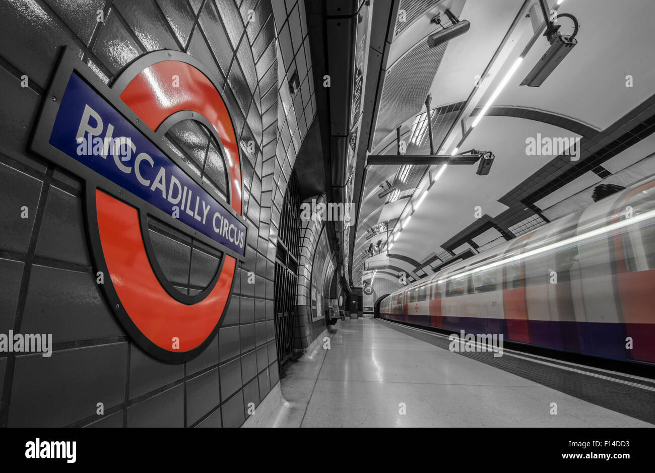The subway of London with selective color highlighting some details. - Stock Image