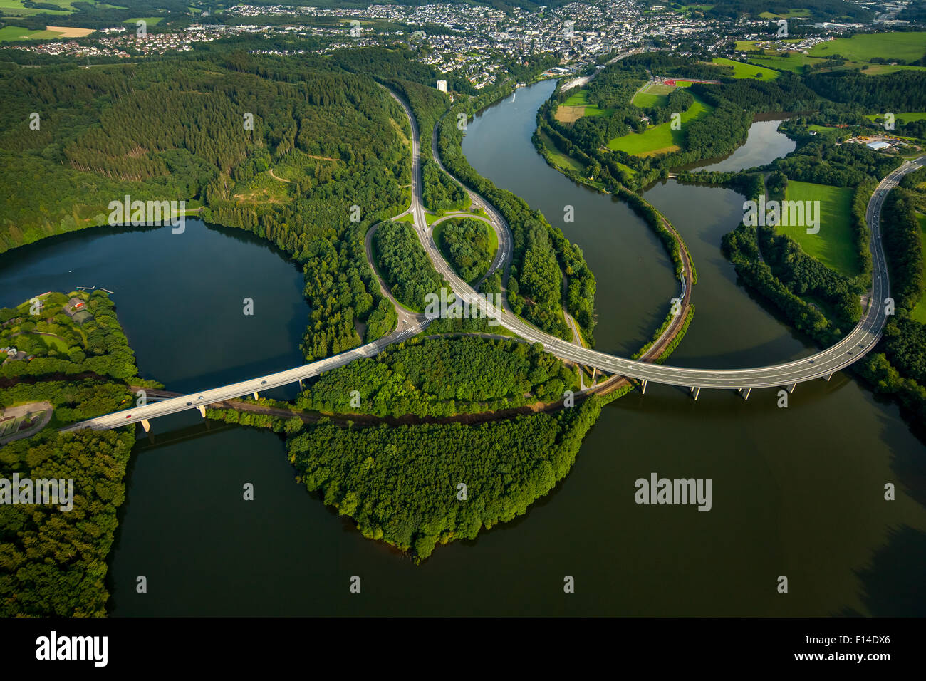 Roads B54 and B55, basin Biggetalsperre in the urban area Olpe, Bigge, Ruhr District, Sauerland, North Rhine-Westphalia, - Stock Image
