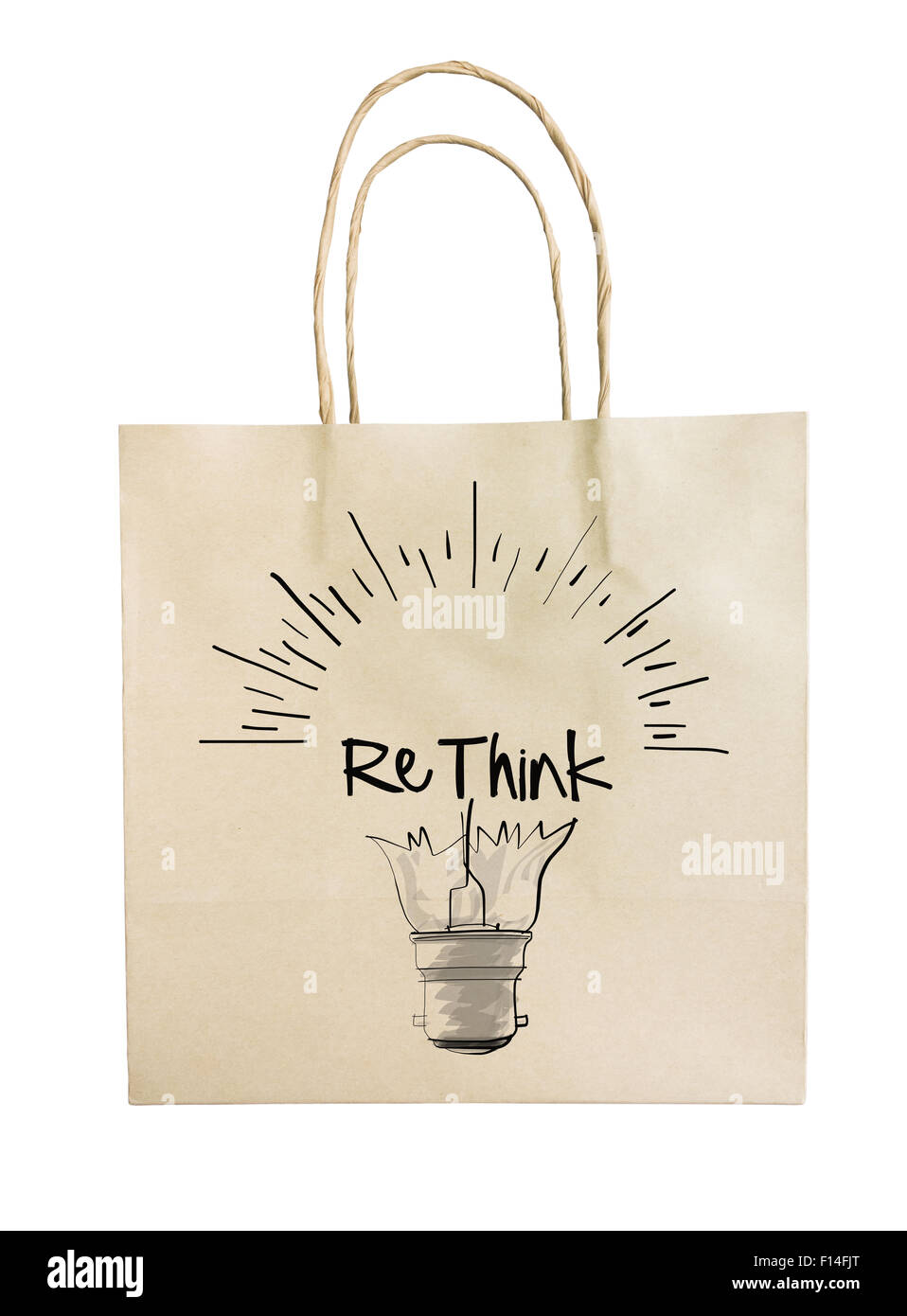 Hand drawn light bulb with RETHINK word paper recycle bag on white background as concept - Stock Image