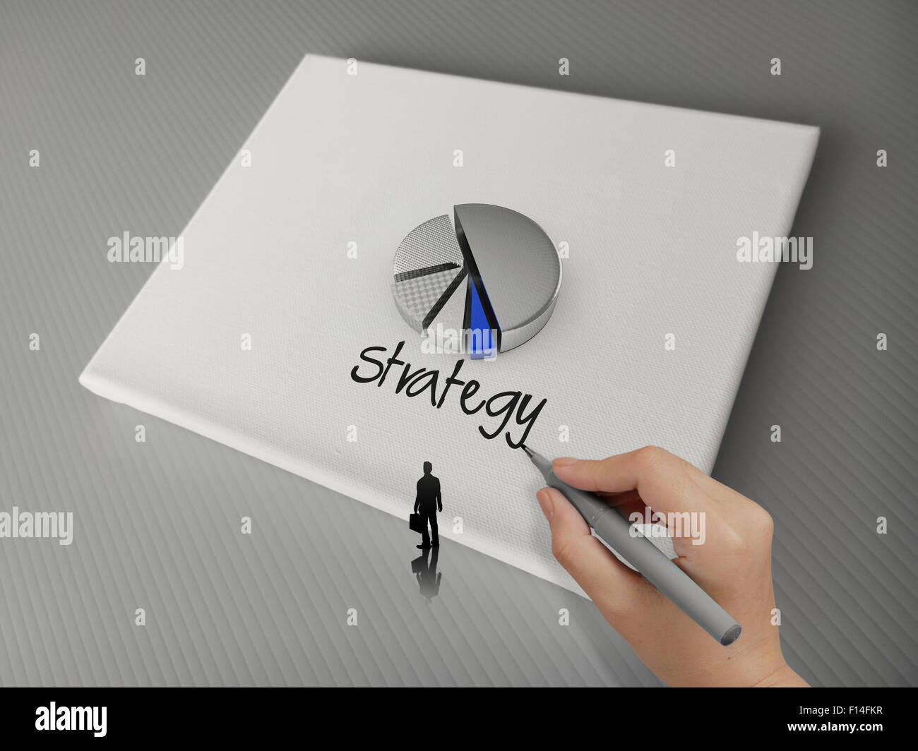 Hand drawing business strategy word and 3d pie chart icon canvas board as concept