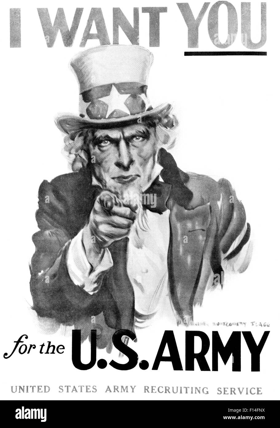1910s WORLD WAR ONE I WANT YOU UNCLE SAM UNITED SSTATES ARMY RECRUITING POSTER BY ARTIST J.M. FLAGG - Stock Image