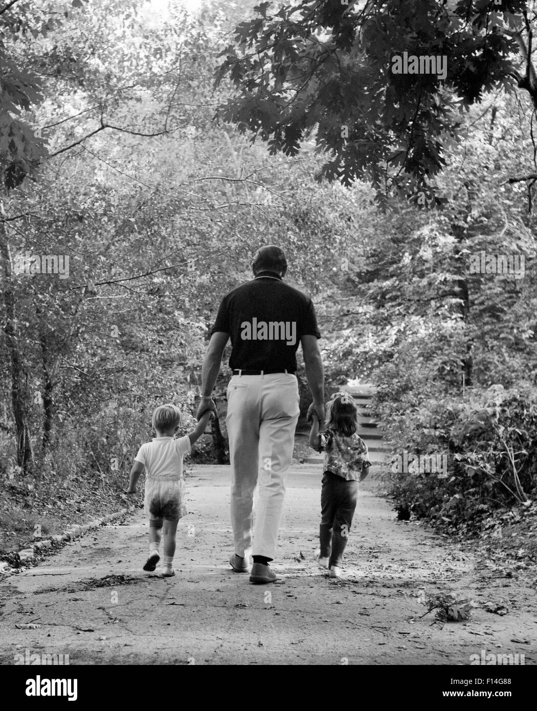 1960s BACK VIEW FATHER HOLDING HANDS WITH TWO CHILDREN SON AND DAUGHTER WALKING WOODLAND TRAIL - Stock Image
