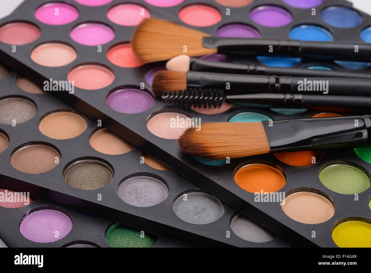 Professional blush palette and cosmetics brushes - Stock Image