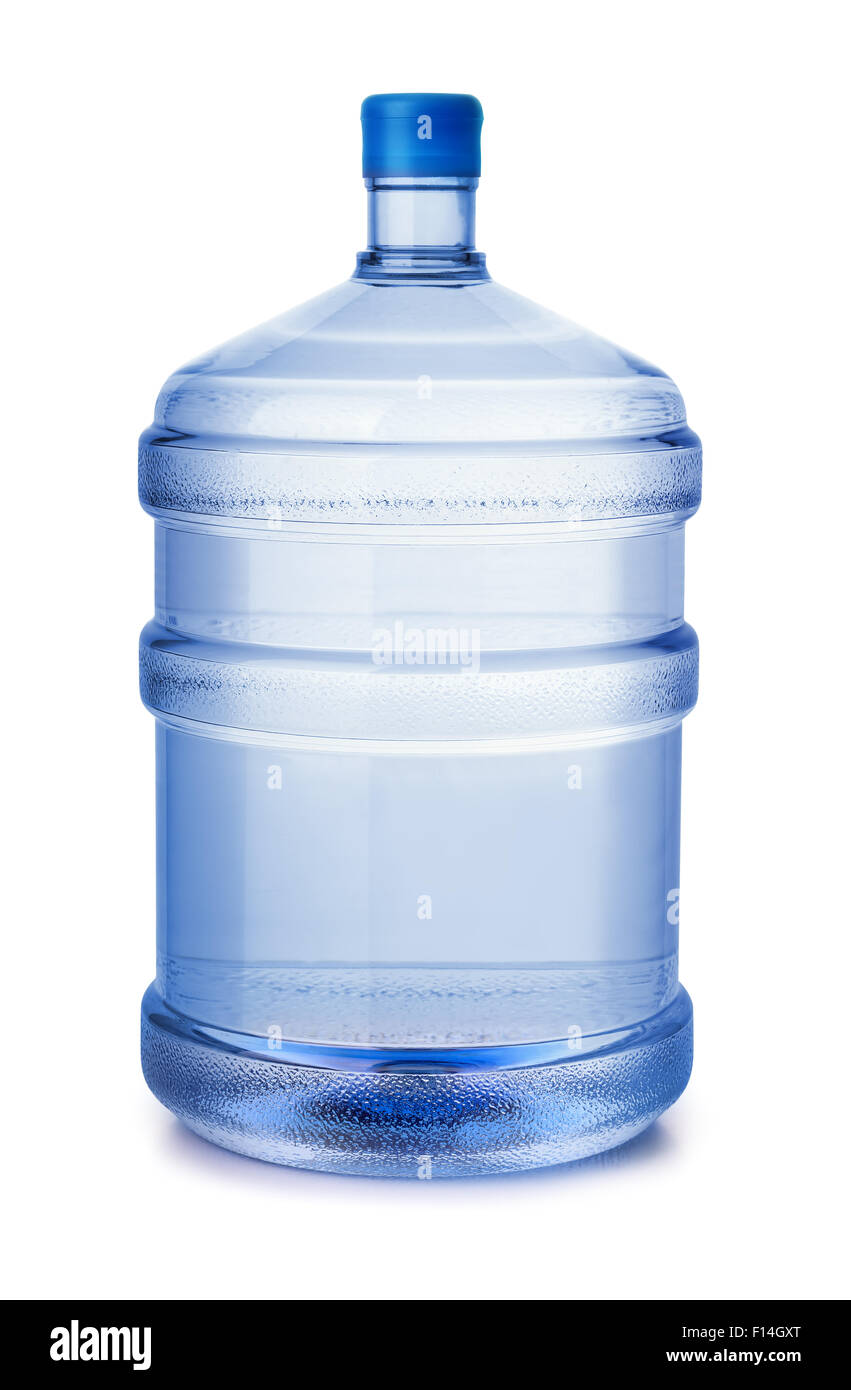 Five gallon plastic water bottle isolated on white - Stock Image