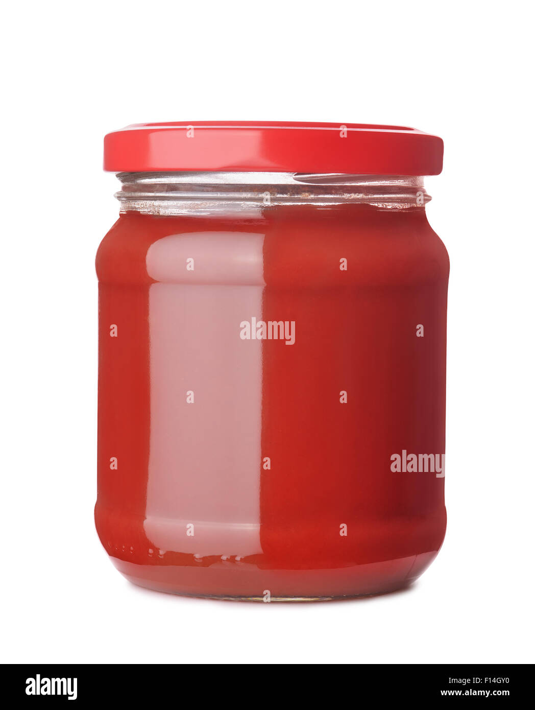 Tomato paste jar isolated on white Stock Photo