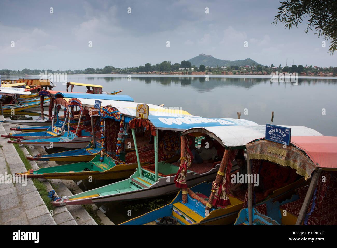India Jammu Kashmir Srinagar Nishat Lake Shikaras At