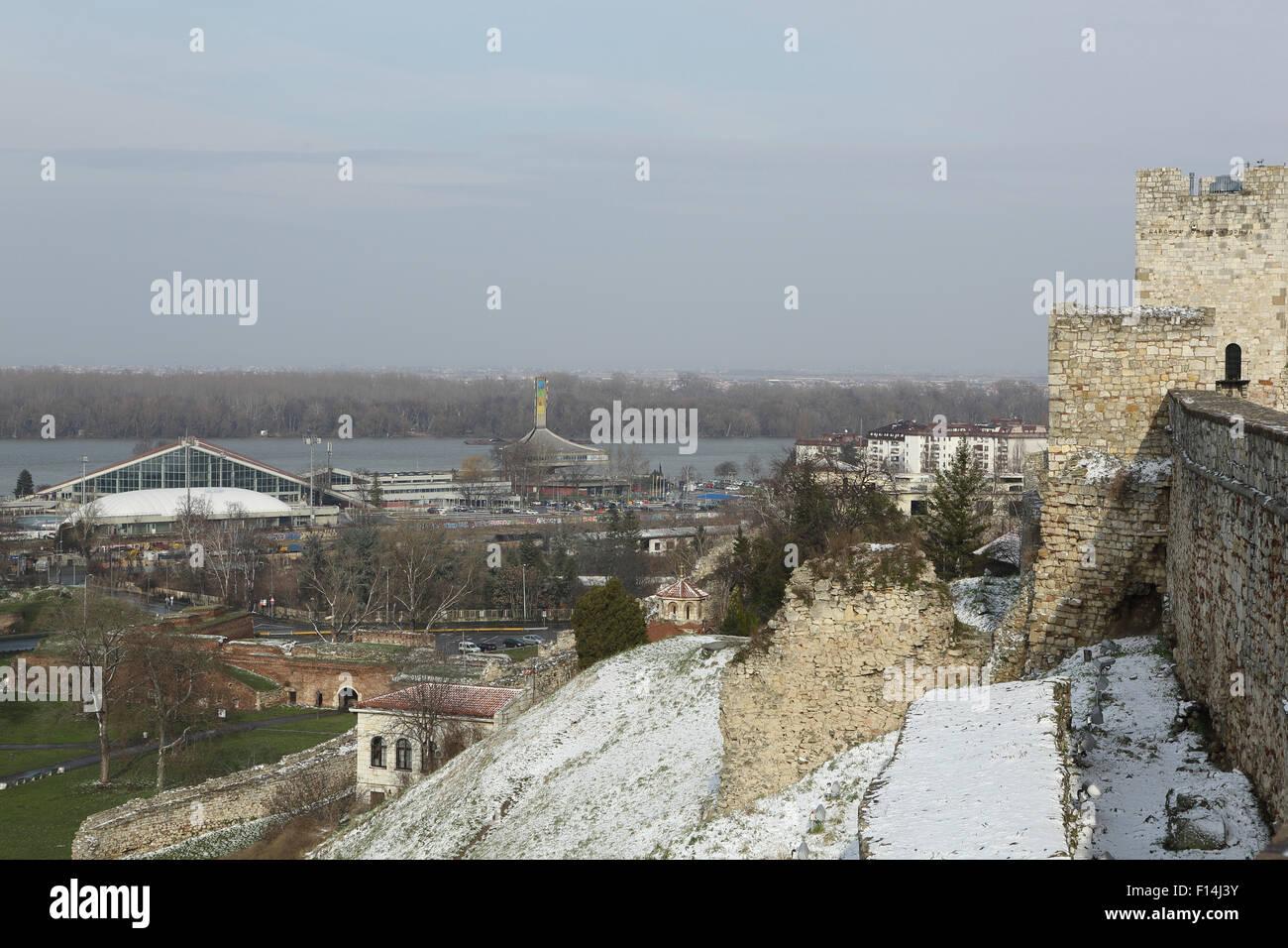Kalemegdan Fortress in Belgrade, Serbia. The castle overlooks the River Danube. - Stock Image