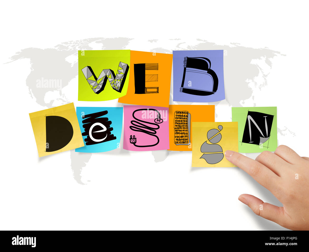 Hand touch drawing web design on sticky note and world map hand touch drawing web design on sticky note and world map background as concept gumiabroncs Choice Image