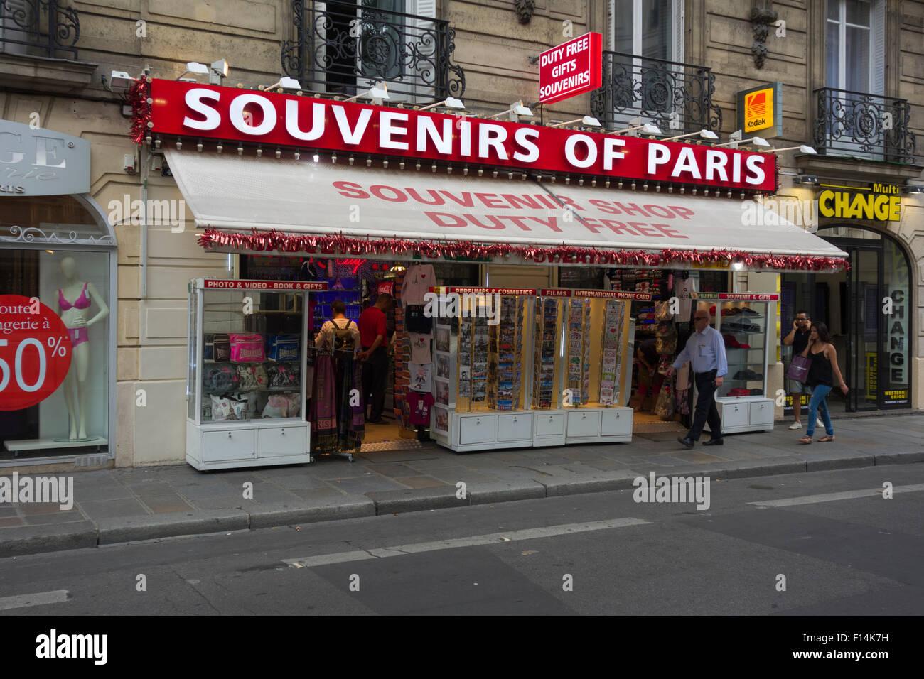 Souvenir shop in Rue de Tilsitt, Paris, France Stock Photo