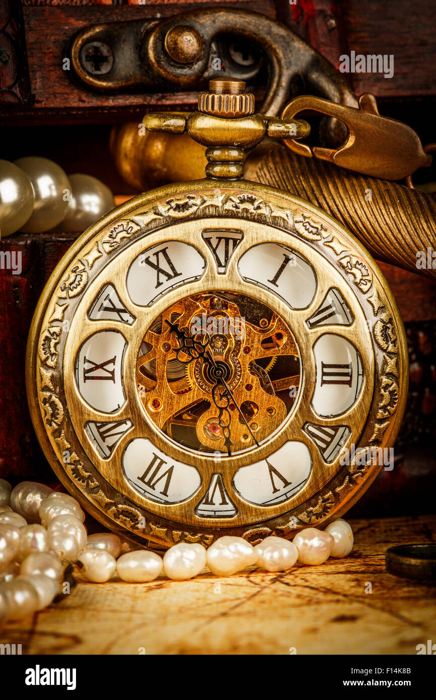 Antique world map past stock photos antique world map past stock vintage antique pocket watch on an ancient world map in 1565 stock image gumiabroncs Image collections