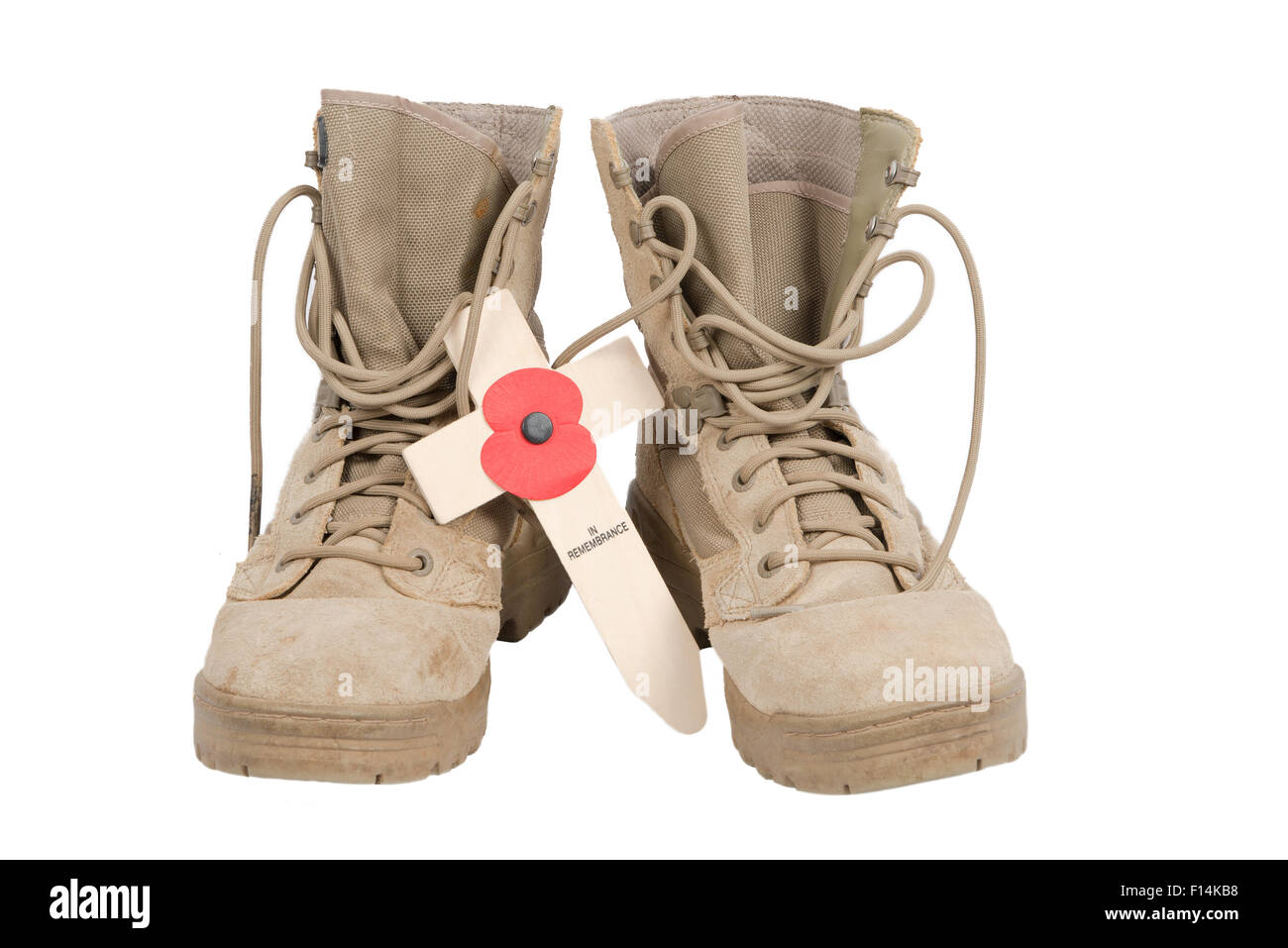 Pair of British desert combat boots on a white background with a cross and poppy placed between them - Stock Image