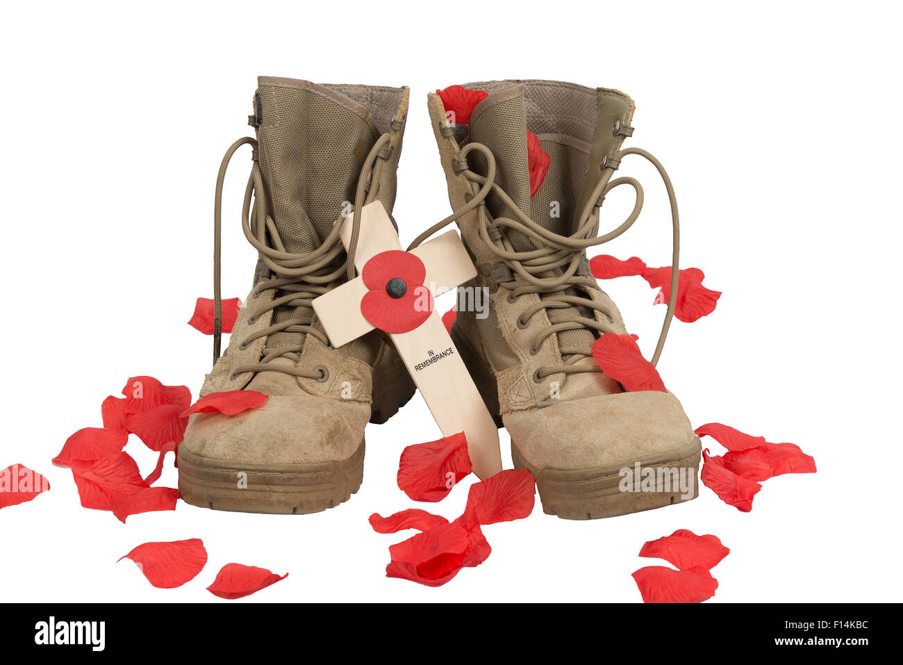 Pair of British Army desert combat boots on a white background with a cross and poppy and poppy petals (artificial). - Stock Image