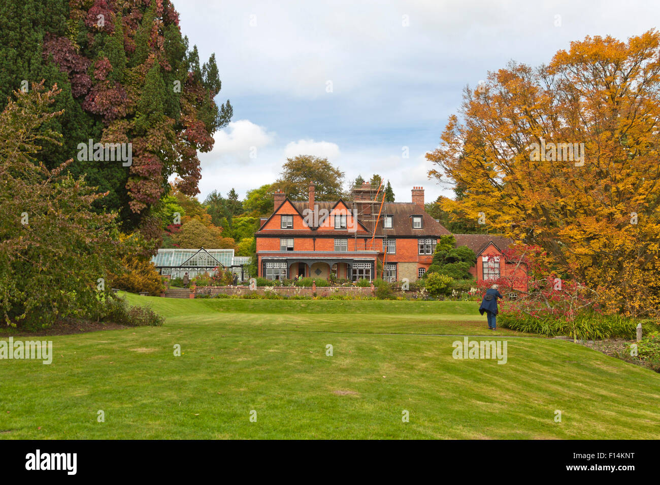 View from Hergest Croft Gardens on Hergest Croft House, near Kington in Herefordshire, England, Great Britain, United - Stock Image