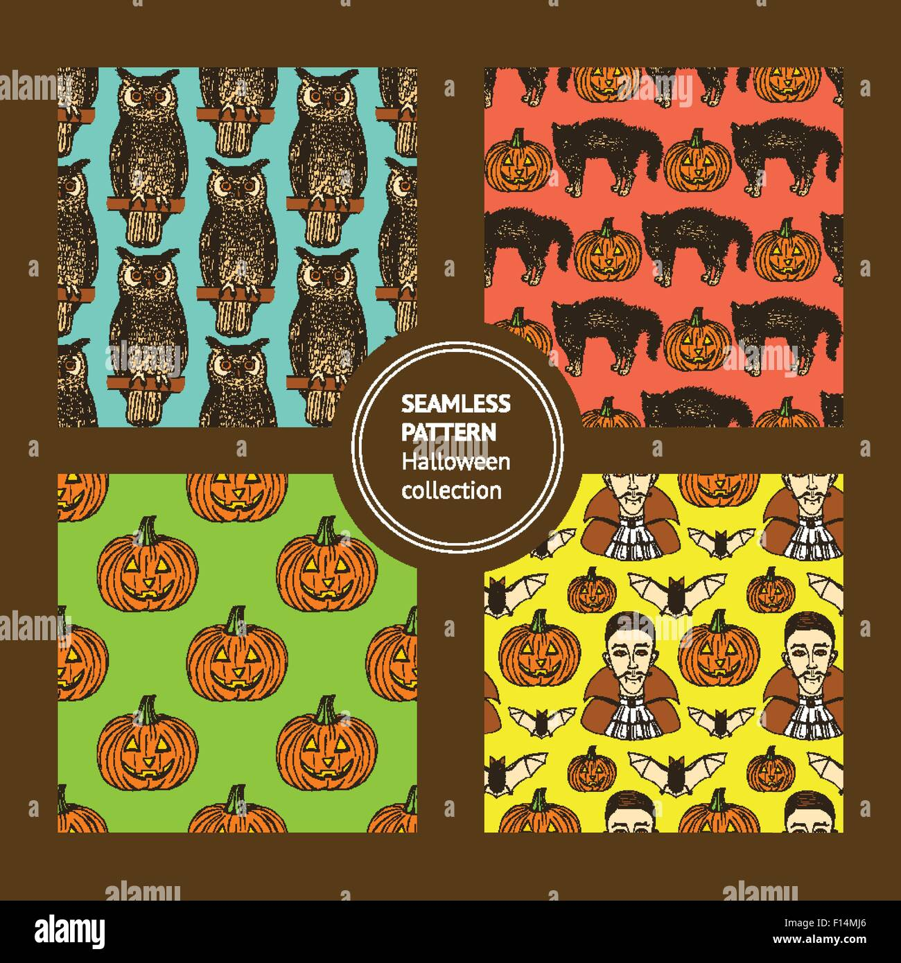 Sketch set of Halloween's logotypes in vintage style, vector - Stock Image