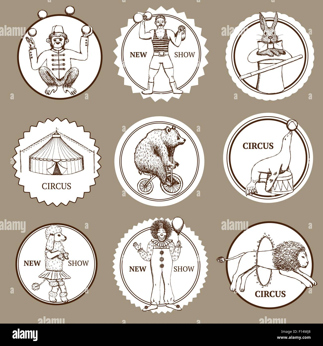 Sketch circus lables and logotypes in vintage style, vector - Stock Image
