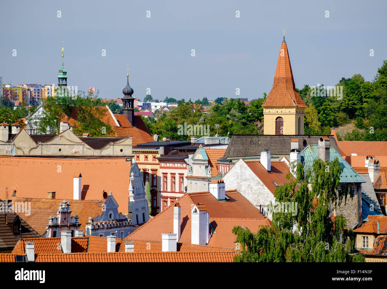 View over the rooftops of Český Krumlov - a UNESCO World Heritage site on the Vltava River in the Czech Republic], - Stock Image