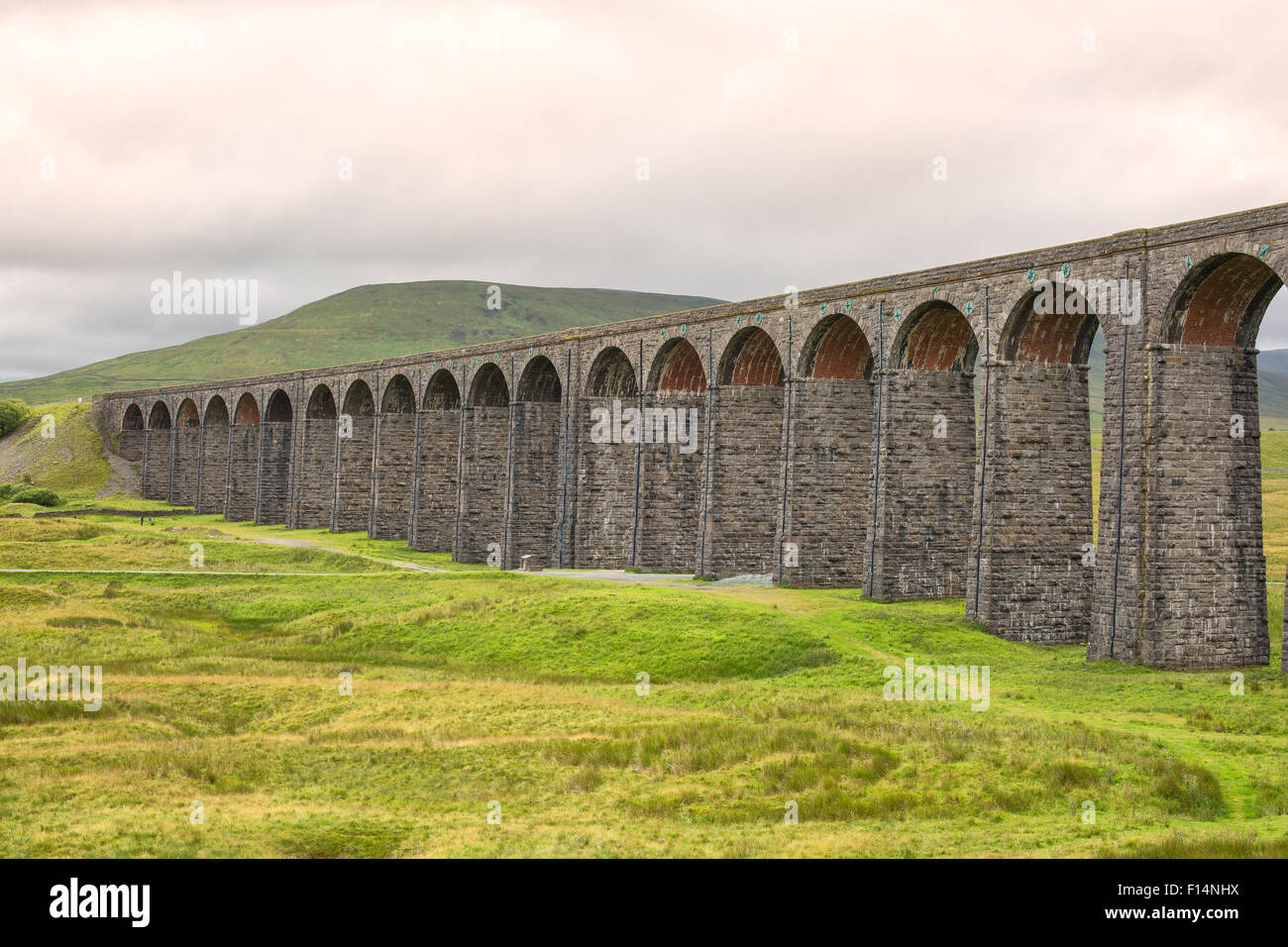 Famous Ribblehead Viaduct in Yorkshire Dales National Park - Stock Image
