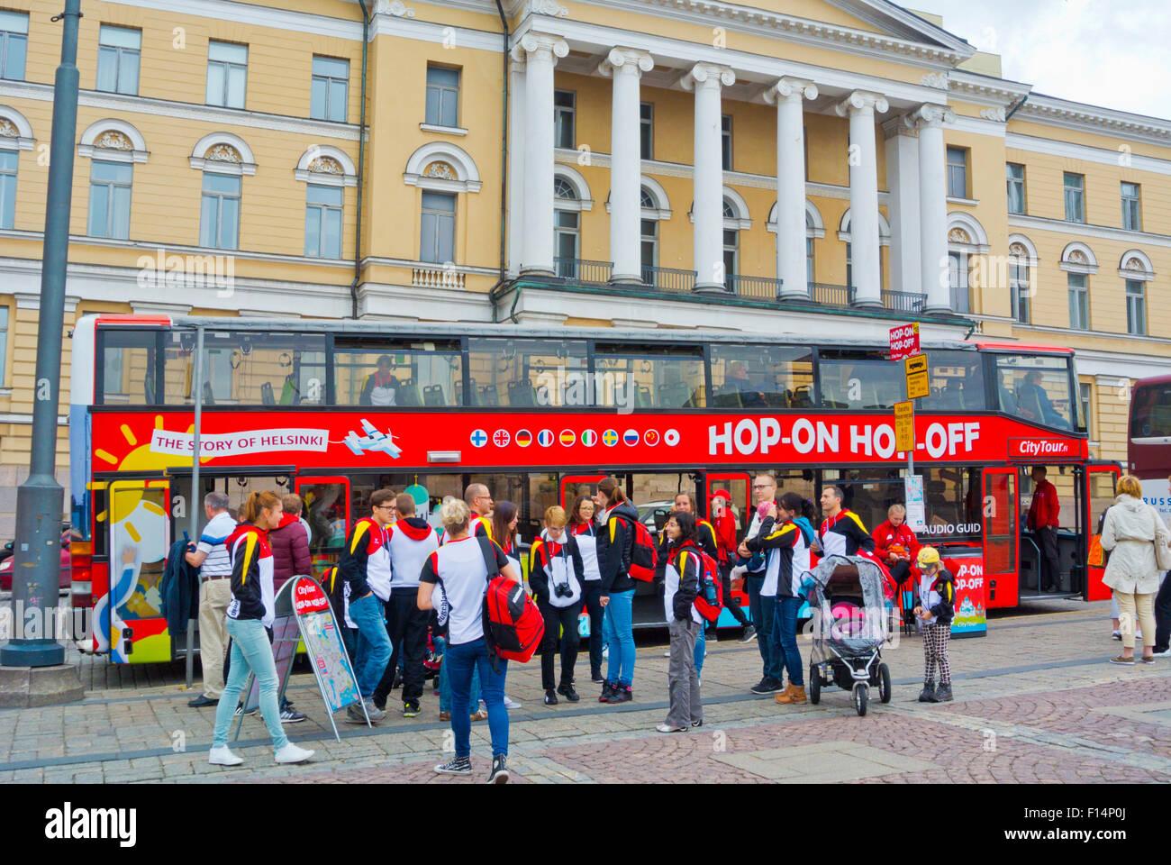 CityTour bus, Senaatintori, Helsinki, Finland, Europe - Stock Image
