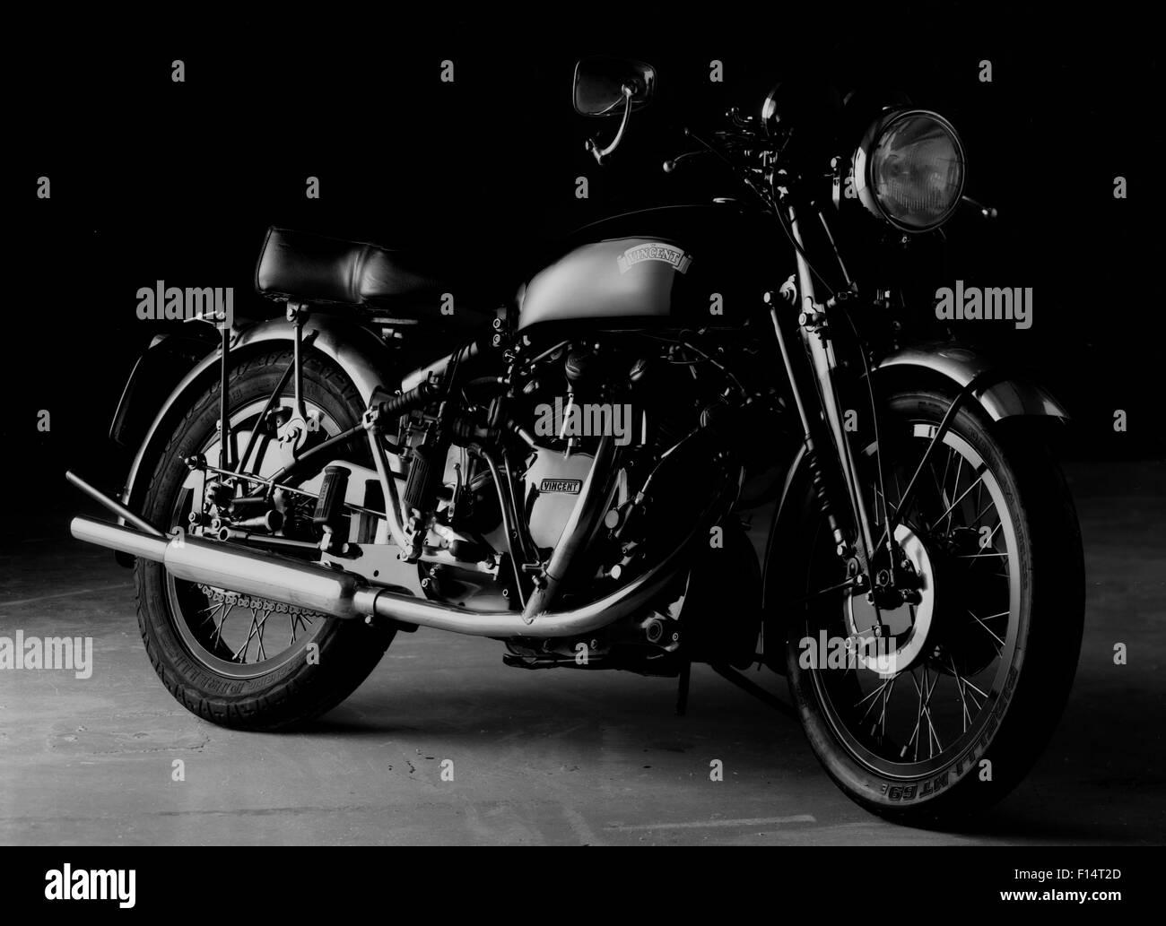 Studio Photograph Vincent Black Shadow Motorcycle Black Background