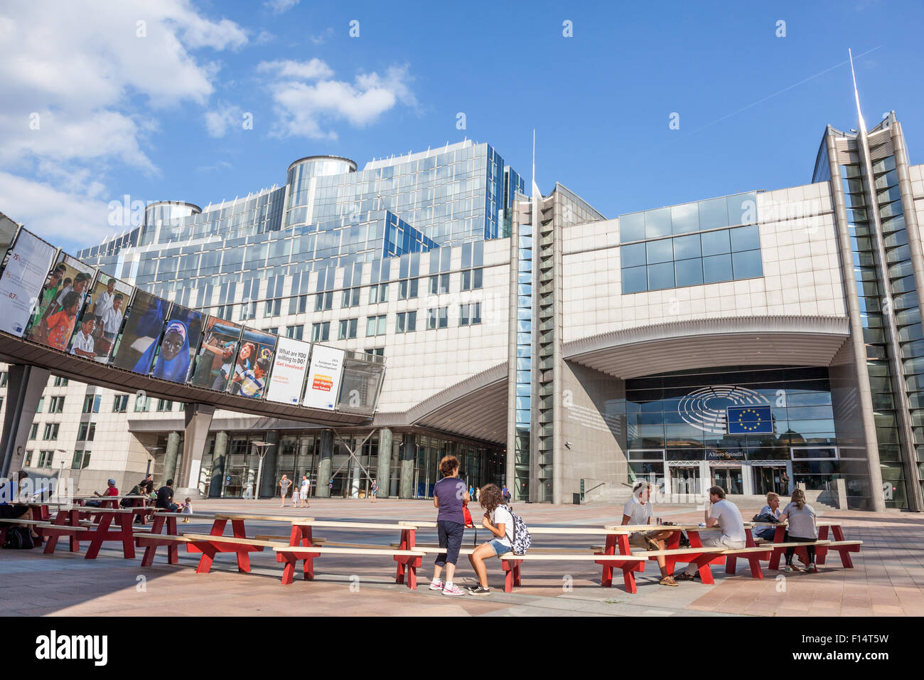European Parliament office buildings at the Espace Leopold (Leopold Square). August 21, 2015 in Brussels, Belgium - Stock Image