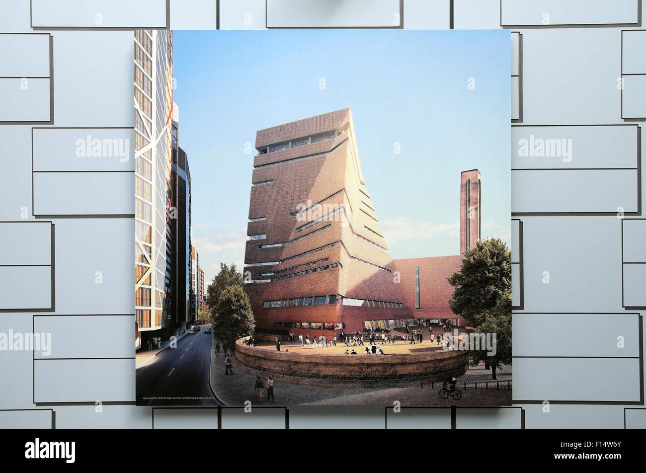 Illustration of the new addition to the Tate Modern Art Gallery on a building construction site hoarding in  Bankside - Stock Image