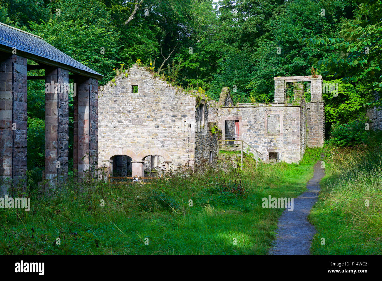 Ruins of the bobbin mill at the Howk, near the village of Caldbeck, Lake District National Park, Cumbria, England - Stock Image