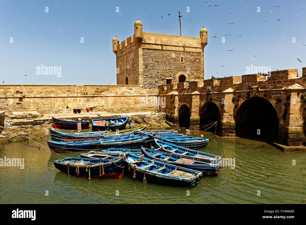 Fortress and ramparts of Essaouira city in Atlantic coast ,Morrocco - Stock Image
