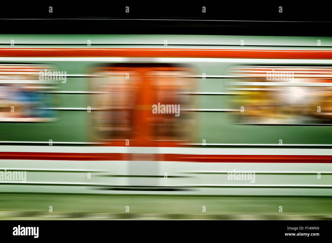 subway train in motion, blurred - Stock Image